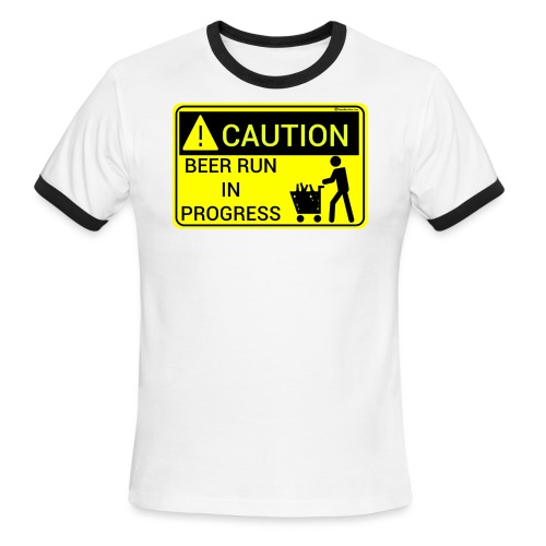 Caution Beer Run In Progress Men's Ringer T-Shirt - Men's Ringer T-Shirt