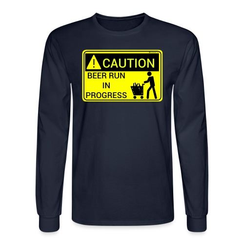 Caution Beer Run In Progress Men's Long Sleeve T-Shirt - Men's Long Sleeve T-Shirt