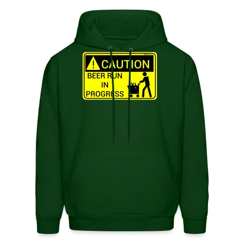Caution Beer Run In Progress Men's Hoodie - Men's Hoodie