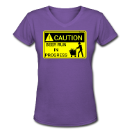 T-Shirts ~ Women's V-Neck T-Shirt ~ Caution Beer Run In Progress Women's V-Neck T-Shirt