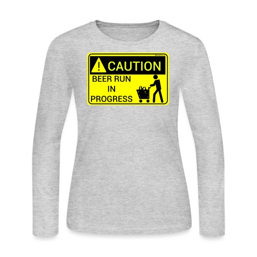 Caution Beer Run In Progress Women's Long Sleeve T-Shirt - Women's Long Sleeve Jersey T-Shirt