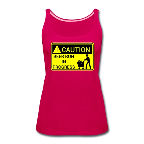 Caution Beer Run In Progress Women's Premium Tank Top - Women's Premium Tank Top