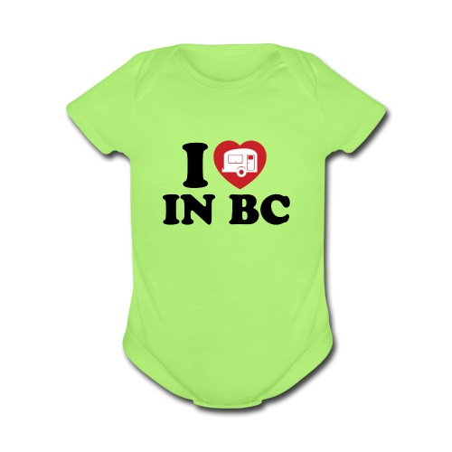 Baby - I Love Camping In BC - Organic Short Sleeve Baby Bodysuit