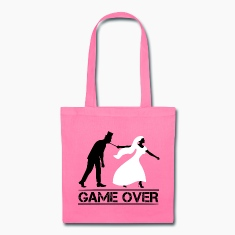 game over bride and groom wedding stag night Bags & backpacks