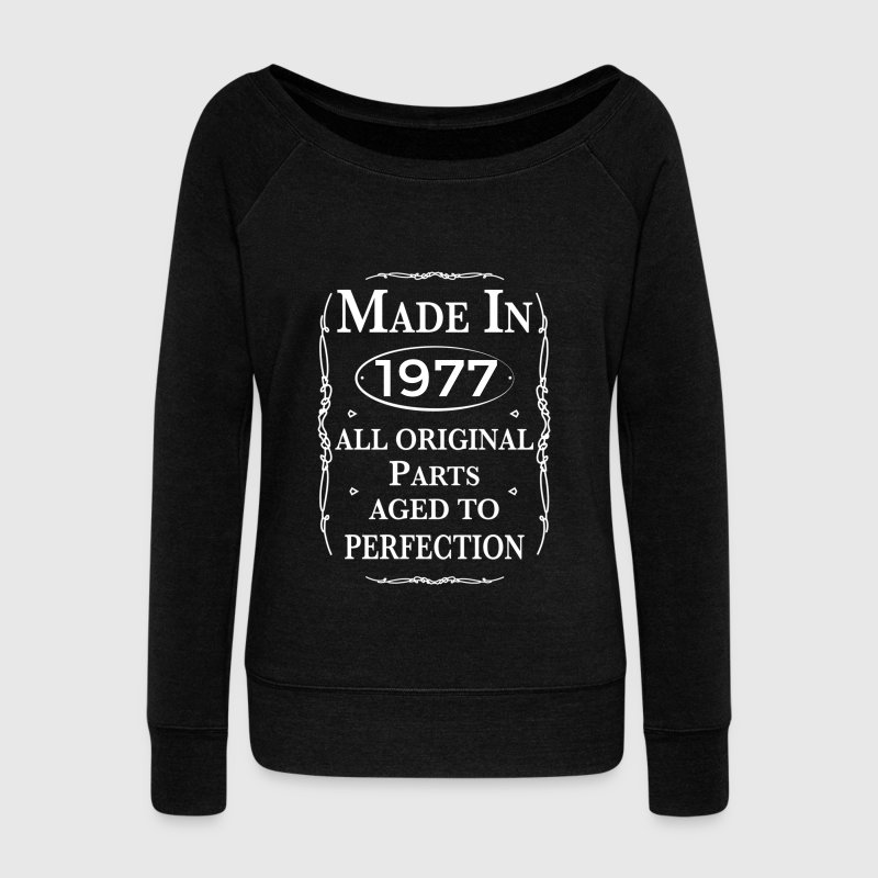 made in 1977 birthday Long Sleeve Shirts - Women's Wideneck Sweatshirt