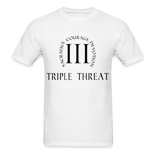 Triple Threat Emblem (Black Font) - Men's T-Shirt