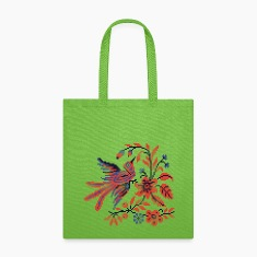 Cross-stitch folklore Charm bird on twig of flower Bags & backpacks