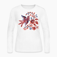 Cross-stitch folklore Charm bird on twig of flower Long Sleeve Shirts