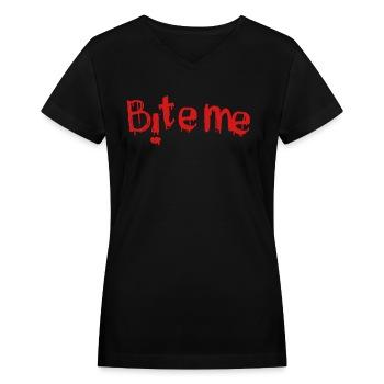 Bite me - in red - Women's V-Neck T-Shirt