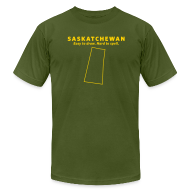 T-Shirts ~ Men's T-Shirt by American Apparel ~ Saskatchewan. Easy to Draw. Hard to Spell.