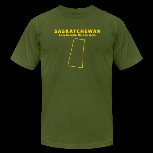 Saskatchewan. Easy to Draw. Hard to Spell. - Men's  Jersey T-Shirt
