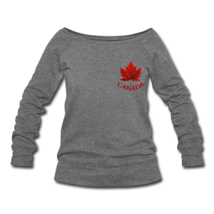Canada Shirt Souvenir Red Maple Leaf Sweatshirts - Women's Wideneck Sweatshirt