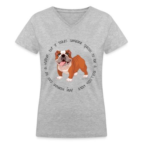 Bulldog Mom V-Neck T-shirt - Women's V-Neck T-Shirt