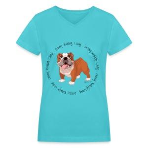 Crazy Bulldog Lady V-Neck T-shirt - Women's V-Neck T-Shirt