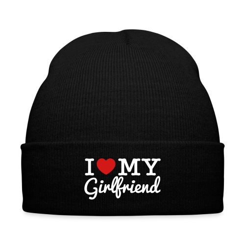I Love My Girlfriend Beanie - Knit Cap with Cuff Print