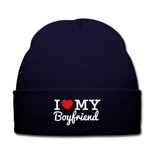 I Love My Boyfriend Beanie - Knit Cap with Cuff Print