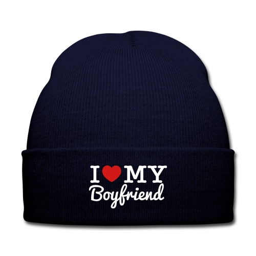 I Love My Boyfriend Beanie - Knit Cap with Cuff Print