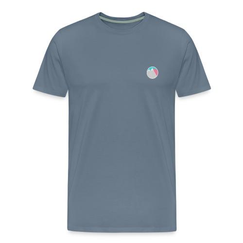 Grey Nature of '99 Simple Tee. (Light Blue & Pink Logo) - Men's Premium T-Shirt