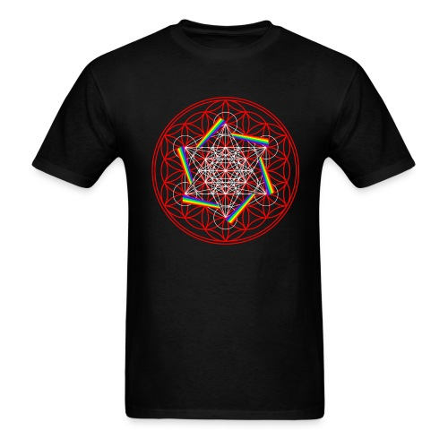 Rainbow Cube Flower Of Life - Men's T-Shirt