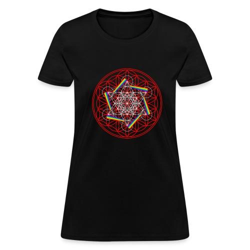 Rainbow Cube Flower Of Life - Women's T-Shirt