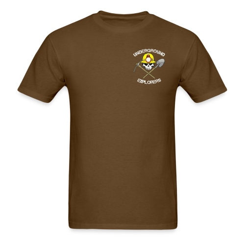 Underground Explorers Brown Logo Tee with flag - Men's T-Shirt