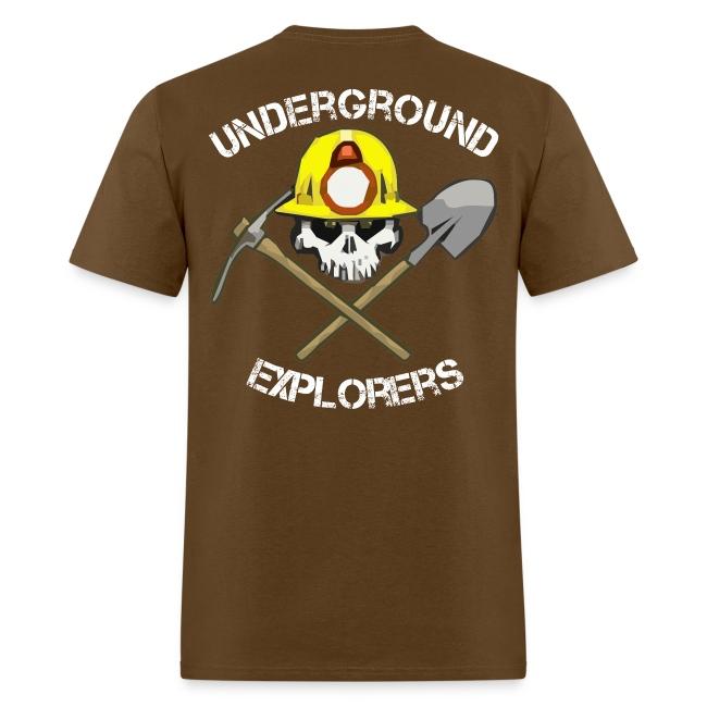 Underground Explorers Brown Logo Tee with flag