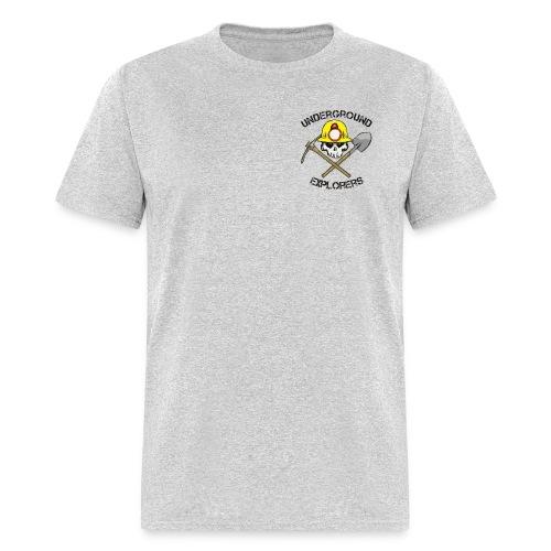 Underground Explorers Heather Gray Logo Tee with flag - Men's T-Shirt