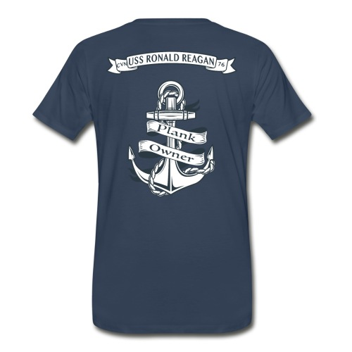 USS RONALD REAGAN PLANK OWNER -  SPECIAL EDITION SLEEVE PRINTS - Men's Premium T-Shirt