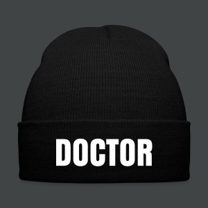 DOCTOR Beanie Hat  - Knit Cap with Cuff Print