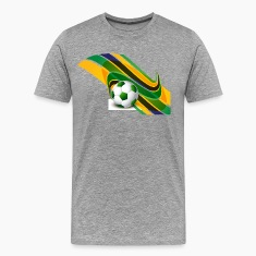 Brazil flag concept stylish wave soccer T-Shirts