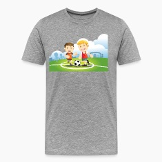 Two boys play soccer on a field T-Shirts