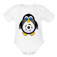 Baby Bodysuits ~ Baby Short Sleeve One Piece ~ Future Soccer Player Penguin Baby T-shirt