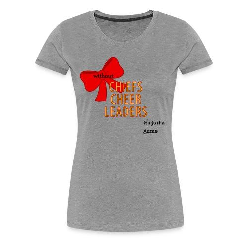 ROC Cheer Just a game Womens Heather Grey Tee (w back design) - Women's Premium T-Shirt
