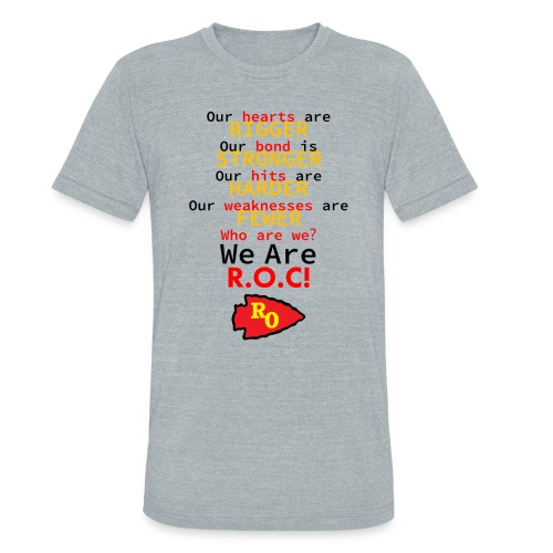 ROC We are ROC Heather Grey Mens Tee (w back design) - Unisex Tri-Blend T-Shirt