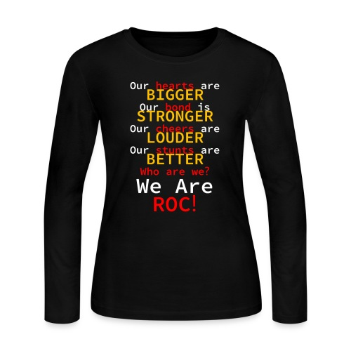 ROC CHEER We are ROC Black Womens Long Sleeve Tee (w back design) - Women's Long Sleeve Jersey T-Shirt