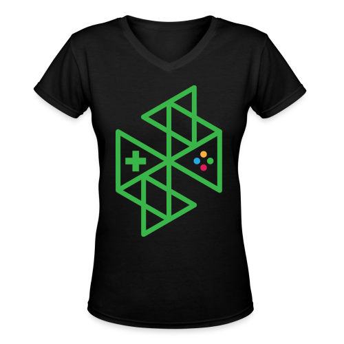 Abstract Gaming Green Women's - Women's V-Neck T-Shirt