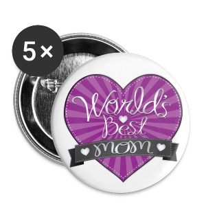 World's Best Mom Purple Heart - Small Buttons