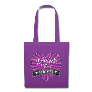 World's Best Mom Purple Heart - Tote Bag
