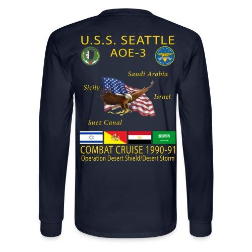 USS SEATTLE 1990-91 CRUISE SHIRT - LONG SLEEVE - Men's Long Sleeve T-Shirt
