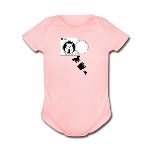 Sock monster - baby, pink short sleeve one piece - Organic Short Sleeve Baby Bodysuit