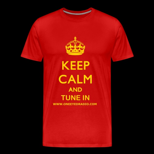 Keep Calm Tune In Gold/Ltr - Men's Premium T-Shirt