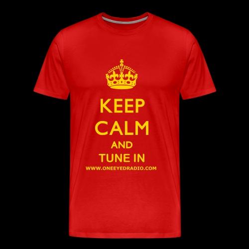 Keep Calm Tune In Gold/Ltr - Men's Premium T-Shirt