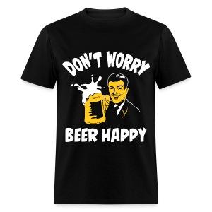 Don't Worry Beer Happy - Black Mug - Men's T-Shirt
