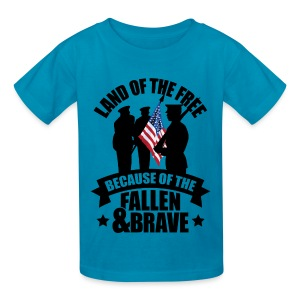 Land of Free Because of Fallen & Brave - Kids' T-Shirt