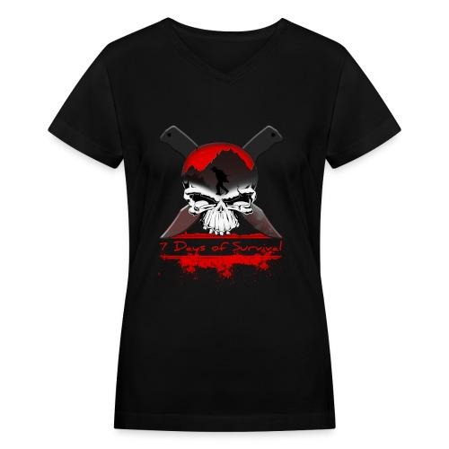 7 Days of Survival - Women's V-Neck T-Shirt
