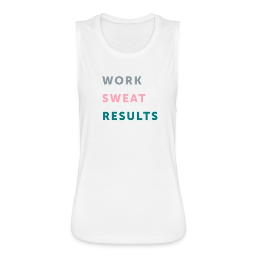 Work Sweat Results Womens-White - Women's Flowy Muscle Tank by Bella