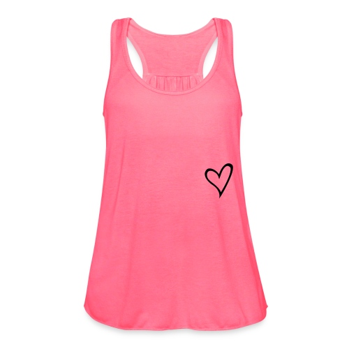 Womens Simple Heart Tank-Pink  - Women's Flowy Tank Top by Bella