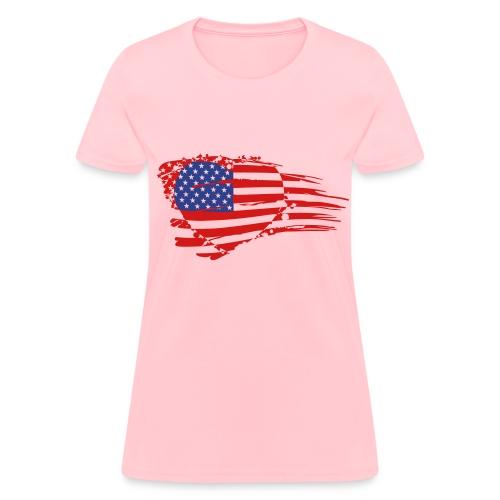 Love America Flag in Heart - Women's T-Shirt