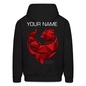 Red Poly Phoenix - Custom Name - Men's Hoodie