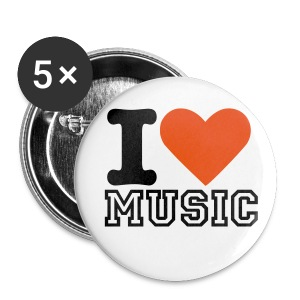 I Love Music Buttons - 5 Pack - Small Buttons